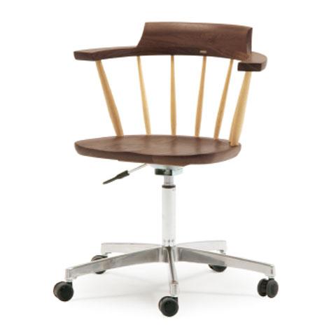 ■SD3K desk chair■W595×D505×H728〜838・SH440〜550・AH668〜778■ウォールナット+オーク