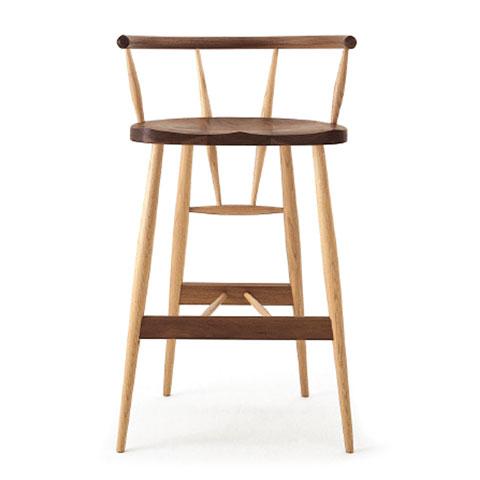■W514 high chair■W540×D400×H870・SH680■ウォールナット+オーク(W+O)/オーク(O)