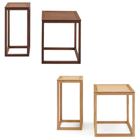 ■WA03/WA04■正方形のサイドテーブル■W300×D300×H600 / W450×D450×H500■ウォールナット/オーク